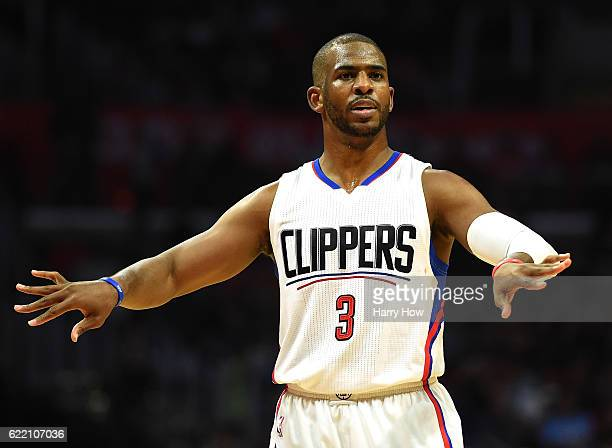 Chris Paul of the Los Angeles Clippers motions to his teammates during a 11180 win over the Portland Trail Blazers at Staples Center on November 9...
