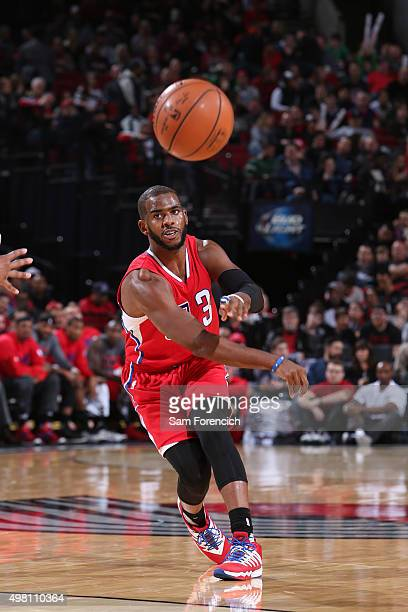 Chris Paul of the Los Angeles Clippers passes the ball against the Portland Trail Blazers on November 20 2015 at the Moda Center in Portland Oregon...