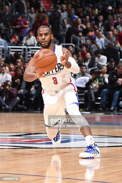 Chris Paul of the Los Angeles Clippers passes the ball against the New Orleans Pelicans on November 27 2015 at STAPLES Center in Los Angeles...