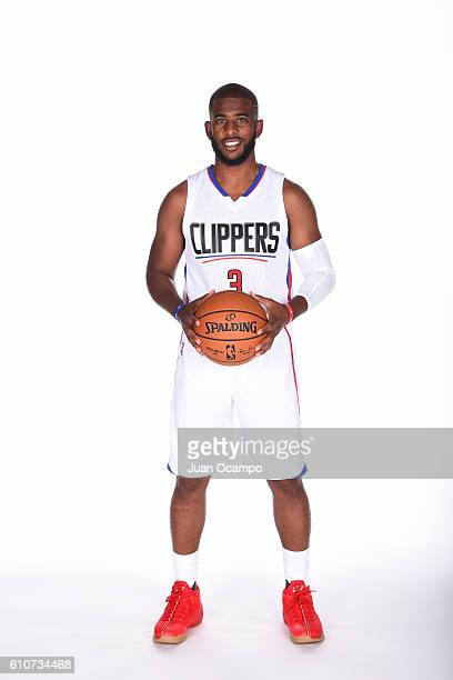 Chris Paul of the Los Angeles Clippers poses for a portrait during the 20162017 Los Angeles Clippers Media Day on September 26 2016 at the Los...