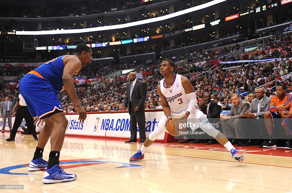 Chris Paul #3 of the Los Angeles Clippers protects the ball during the game between the Los Angeles Clippers and the New York Knicks at Staples Center on March 17, 2013 in Los Angeles, California.