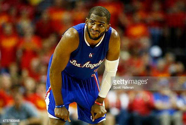 Chris Paul of the Los Angeles Clippers reacts in the third quarter against the Houston Rockets during Game Seven of the Western Conference Semifinals...