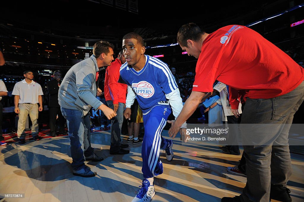 <a gi-track='captionPersonalityLinkClicked' href=/galleries/search?phrase=Chris+Paul&family=editorial&specificpeople=212762 ng-click='$event.stopPropagation()'>Chris Paul</a> #3 of the Los Angeles Clippers runs out before the game against the Memphis Grizzlies at Staples Center on March 13, 2013 in Los Angeles, California.