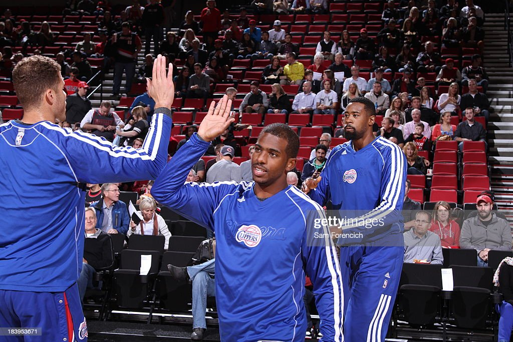 <a gi-track='captionPersonalityLinkClicked' href=/galleries/search?phrase=Chris+Paul&family=editorial&specificpeople=212762 ng-click='$event.stopPropagation()'>Chris Paul</a> #3 of the Los Angeles Clippers runs out before the game against the Portland Trail Blazers on October 7, 2013 at the Moda Center Arena in Portland, Oregon.