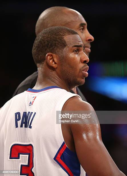 Chris Paul of the Los Angeles Clippers sets up to guard Kobe Bryant of the Los Angeles Lakers as they wait for an inbounds pass at Staples Center on...