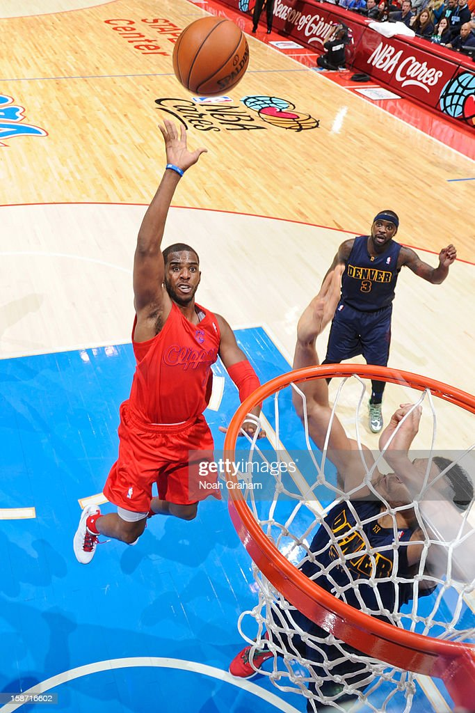 <a gi-track='captionPersonalityLinkClicked' href=/galleries/search?phrase=Chris+Paul&family=editorial&specificpeople=212762 ng-click='$event.stopPropagation()'>Chris Paul</a> #3 of the Los Angeles Clippers shoots a floater in the lane against the Denver Nuggets during a Christmas Day game at Staples Center on December 25, 2012 in Los Angeles, California.