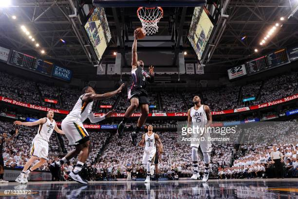 Chris Paul of the Los Angeles Clippers shoots a lay up during the game against the Utah Jazz during the Western Conference Quarterfinals of the 2017...
