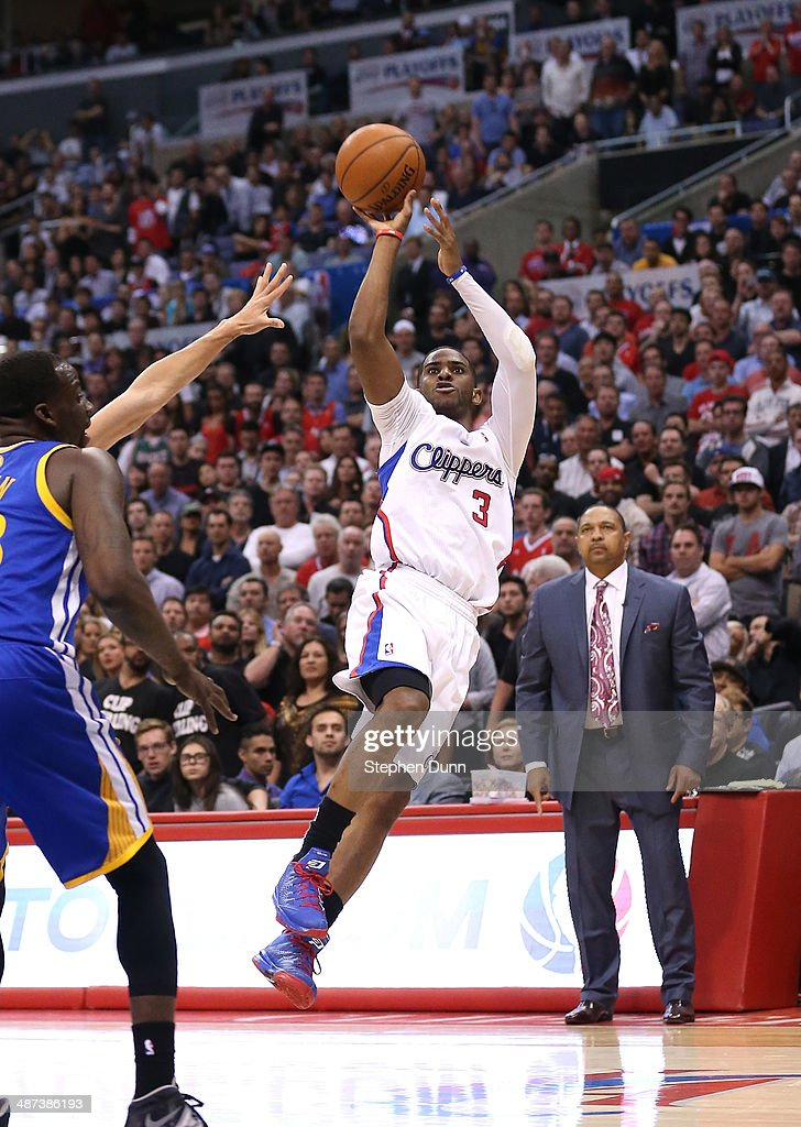 Chris Paul #3 of the Los Angeles Clippers shoots against the Golden State Warriors in Game Five of the Western Conference Quarterfinals during the 2014 NBA Playoffs at Staples Center on April 29, 2014 in Los Angeles, California. The Clippers won 113-103.