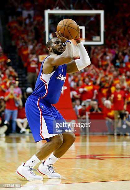 Chris Paul of the Los Angeles Clippers shoots against the Houston Rockets in the fourth quarter during Game Seven of the Western Conference...