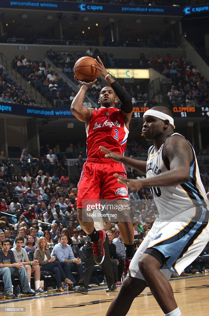 <a gi-track='captionPersonalityLinkClicked' href=/galleries/search?phrase=Chris+Paul&family=editorial&specificpeople=212762 ng-click='$event.stopPropagation()'>Chris Paul</a> #3 of the Los Angeles Clippers shoots against <a gi-track='captionPersonalityLinkClicked' href=/galleries/search?phrase=Zach+Randolph&family=editorial&specificpeople=201595 ng-click='$event.stopPropagation()'>Zach Randolph</a> #50 of the Memphis Grizzlies on April 13, 2013 at FedExForum in Memphis, Tennessee.