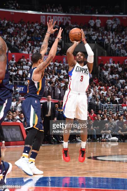 Chris Paul of the Los Angeles Clippers shoots the ball against the Utah Jazz in Game One of Round One during the 2017 NBA Playoffs on April 15 2017...