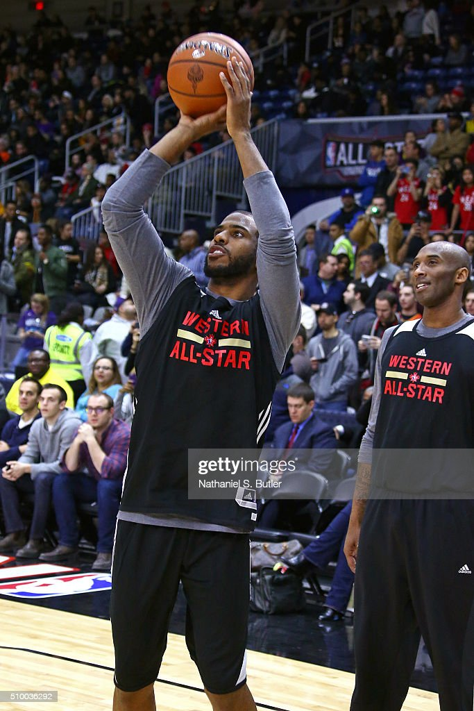 <a gi-track='captionPersonalityLinkClicked' href=/galleries/search?phrase=Chris+Paul&family=editorial&specificpeople=212762 ng-click='$event.stopPropagation()'>Chris Paul</a> #3 of the Los Angeles Clippers shoots the ball during the NBA All-Star Practice as part of 2016 All-Star Weekend at the Ricoh Coliseum on February 13, 2016 in Toronto, Ontario, Canada.