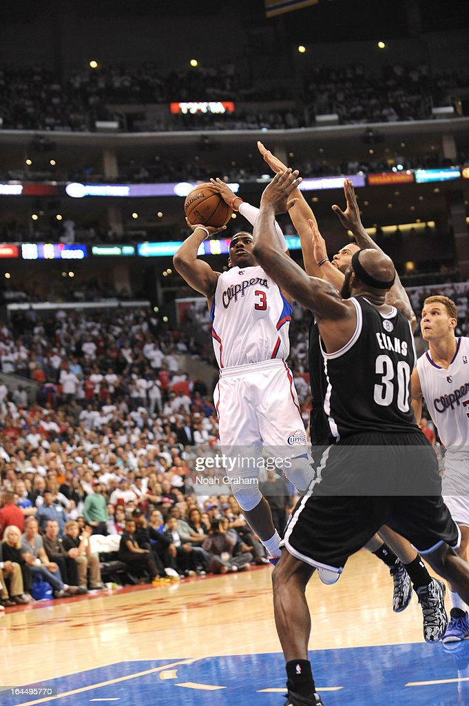 <a gi-track='captionPersonalityLinkClicked' href=/galleries/search?phrase=Chris+Paul&family=editorial&specificpeople=212762 ng-click='$event.stopPropagation()'>Chris Paul</a> #3 of the Los Angeles Clippers shoots the ball during the game between the Los Angeles Clippers and the Brooklyn Nets at Staples Center on March 23, 2013 in Los Angeles, California.