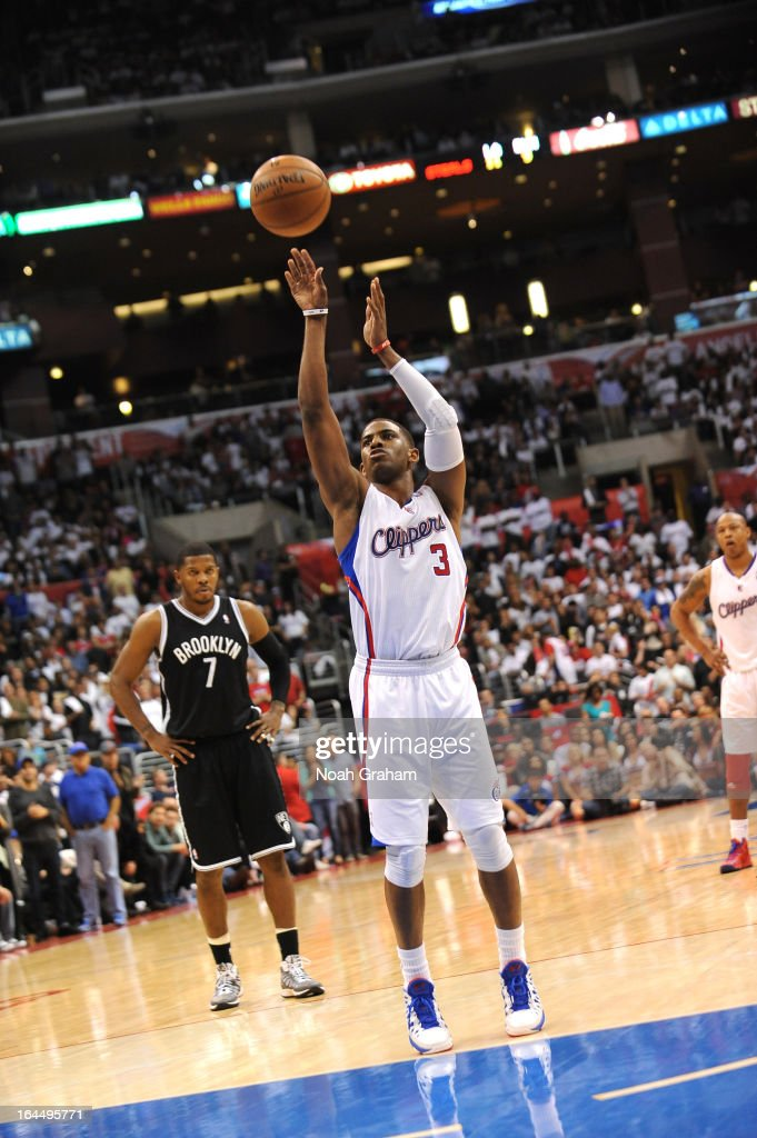 Chris Paul #3 of the Los Angeles Clippers shoots the ball during the game between the Los Angeles Clippers and the Brooklyn Nets at Staples Center on March 23, 2013 in Los Angeles, California.