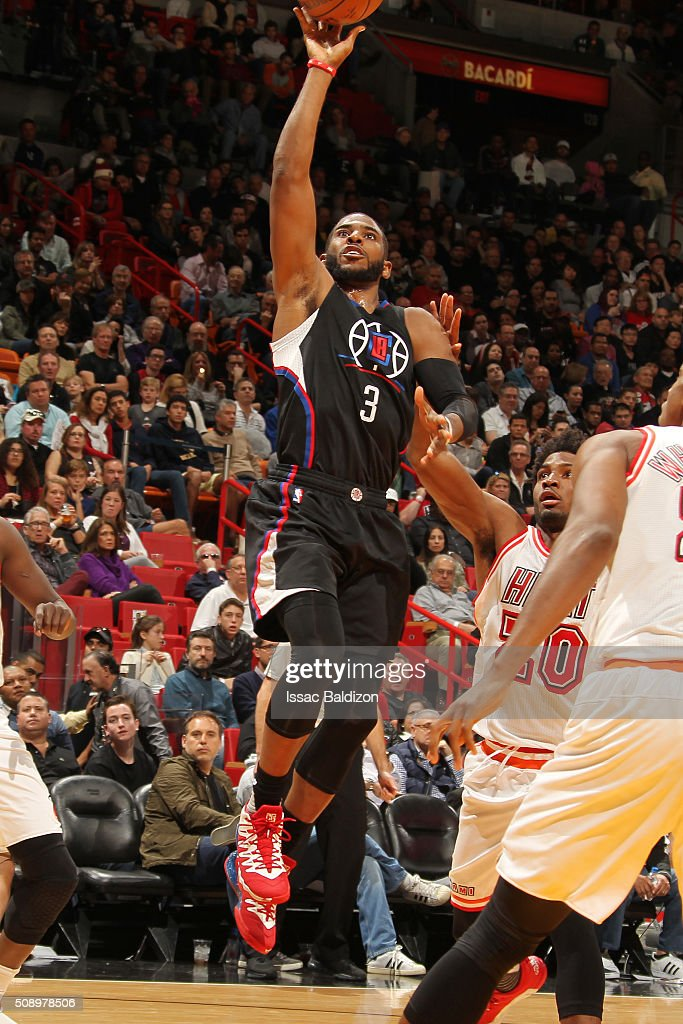 <a gi-track='captionPersonalityLinkClicked' href=/galleries/search?phrase=Chris+Paul&family=editorial&specificpeople=212762 ng-click='$event.stopPropagation()'>Chris Paul</a> #3 of the Los Angeles Clippers shoots the ball during the game against the Miami Heat on February 7, 2016 at AmericanAirlines Arena in Miami, Florida.