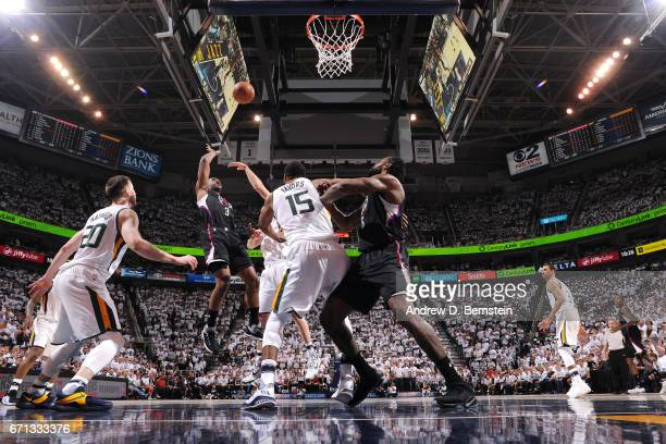 Chris Paul of the Los Angeles Clippers shoots the ball during the game against the Utah Jazz during the Western Conference Quarterfinals of the 2017...
