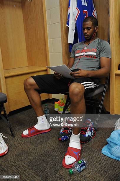 Chris Paul of the Los Angeles Clippers sits in the locker room before Game Five of the Western Conference Semifinals against the Oklahoma City...