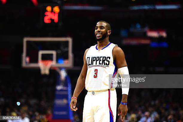 Chris Paul of the Los Angeles Clippers smiles during the game against the Los Angeles Lakers at Staples Center on January 29 2016 in Los Angeles...