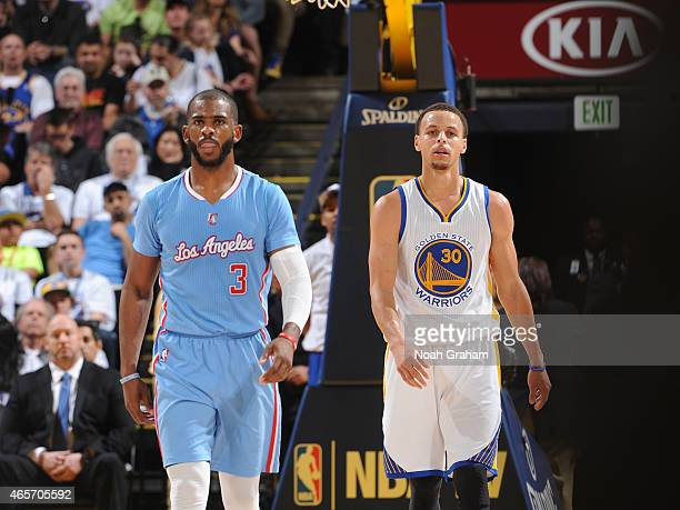 Chris Paul of the Los Angeles Clippers stands on the court during a game against Stephen Curry of the Golden State Warriors on March 8 2015 at Oracle...