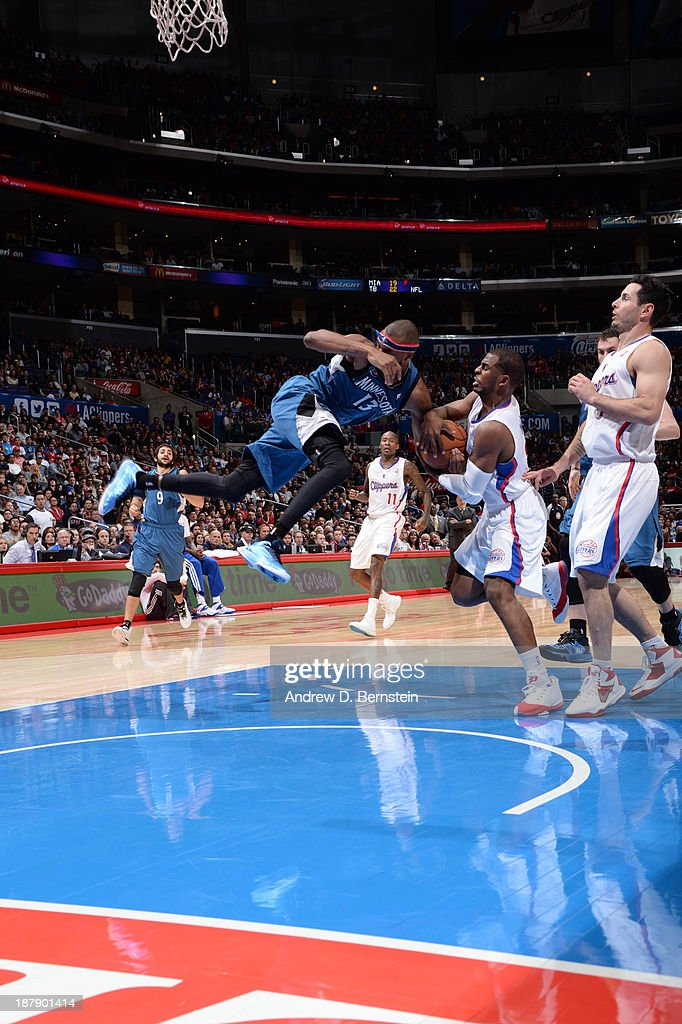 <a gi-track='captionPersonalityLinkClicked' href=/galleries/search?phrase=Chris+Paul&family=editorial&specificpeople=212762 ng-click='$event.stopPropagation()'>Chris Paul</a> #3 of the Los Angeles Clippers steals the ball away from <a gi-track='captionPersonalityLinkClicked' href=/galleries/search?phrase=Corey+Brewer&family=editorial&specificpeople=234749 ng-click='$event.stopPropagation()'>Corey Brewer</a> #13 of the Minnesota Timberwolves at Staples Center on November 11, 2013 in Los Angeles, California.