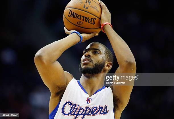 Chris Paul of the Los Angeles Clippers takes a free throw on the court during their game against the Houston Rockets at the Toyota Center on February...