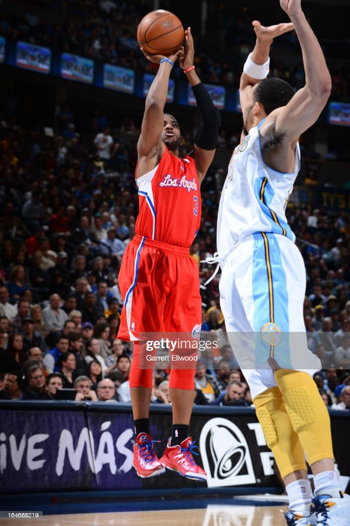 Chris Paul #3 of the Los Angeles Clippers takes a shot against the Denver Nuggets on March 7, 2013 at the Pepsi Center in Denver, Colorado.