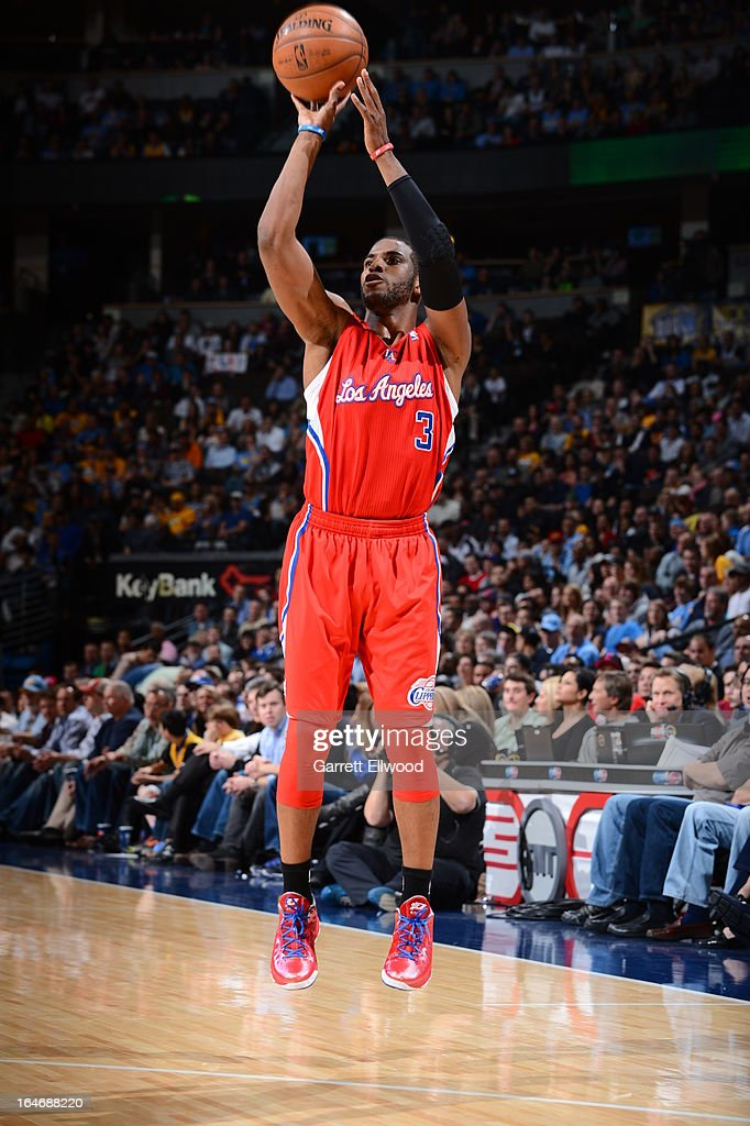 <a gi-track='captionPersonalityLinkClicked' href=/galleries/search?phrase=Chris+Paul&family=editorial&specificpeople=212762 ng-click='$event.stopPropagation()'>Chris Paul</a> #3 of the Los Angeles Clippers takes a shot against the Denver Nuggets on March 7, 2013 at the Pepsi Center in Denver, Colorado.