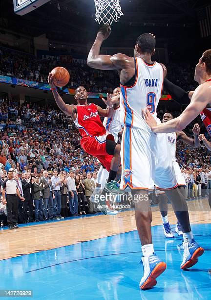 Chris Paul of the Los Angeles Clippers takes the game winning shot to defeat the Oklahoma City Thunder on April 11 2012 at the Chesapeake Energy...