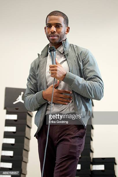 Chris Paul of the Los Angeles Clippers visits KIPP Central City Primary School on February 13 2014 in New Orleans Louisiana