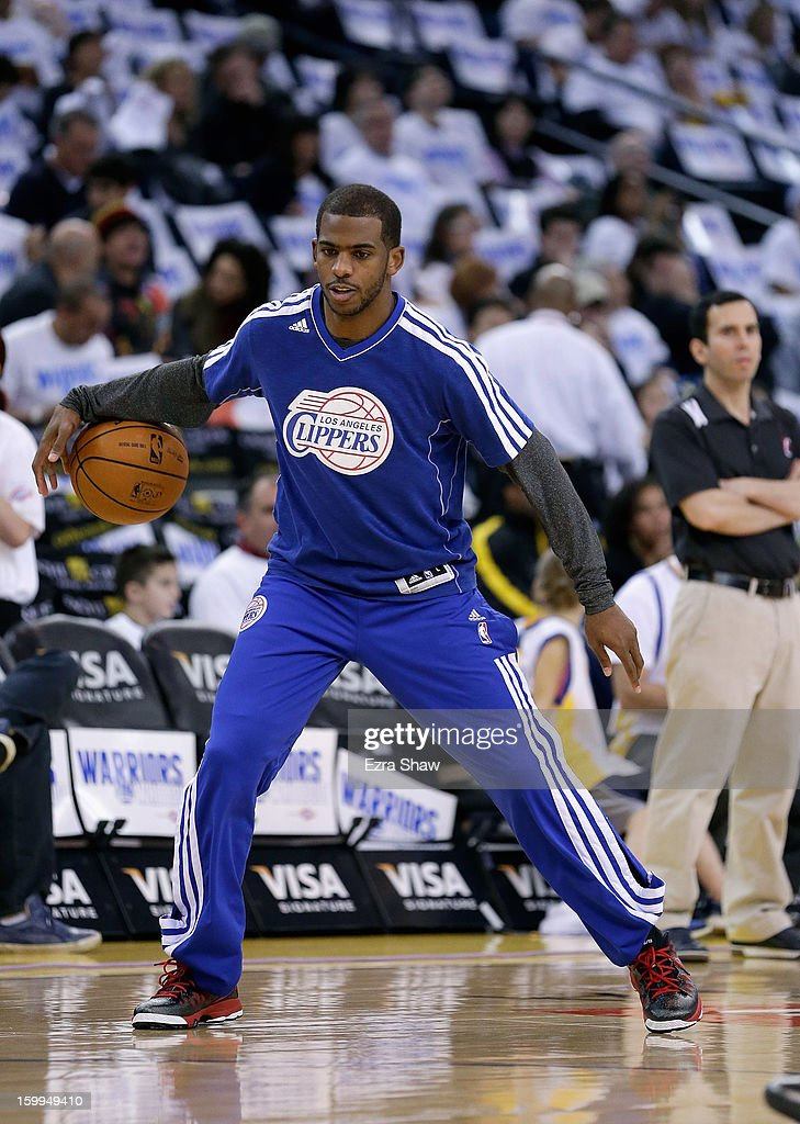 <a gi-track='captionPersonalityLinkClicked' href=/galleries/search?phrase=Chris+Paul&family=editorial&specificpeople=212762 ng-click='$event.stopPropagation()'>Chris Paul</a> #3 of the Los Angeles Clippers warms up before their game against the Golden State Warriors at Oracle Arena on January 2, 2013 in Oakland, California.