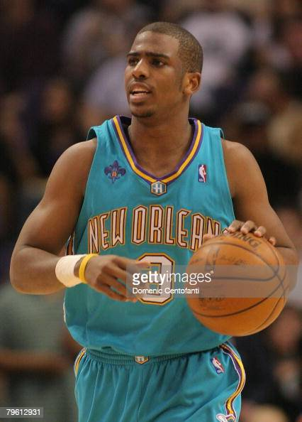Chris Paul of the New Orleans Hornets brings the ball down court against the Phoenix Suns on February 6 2008 at US Airways Center in Phoenix Arizona...