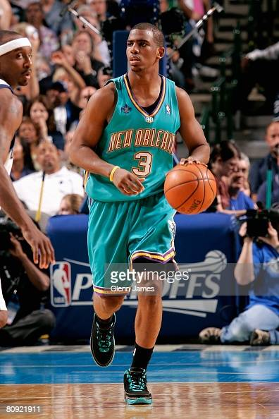 Chris Paul of the New Orleans Hornets brings the ball upcourt in Game Three of the Western Conference Quarterfinals against the Dallas Mavericks...