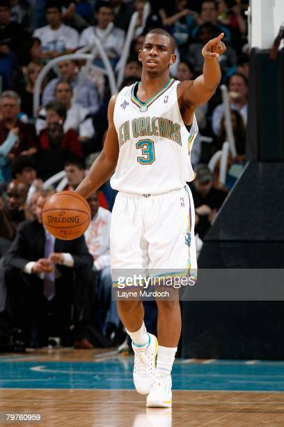 Chris Paul of the New Orleans Hornets dribbles against the Charlotte Bobcats during the game on January 18 2008 at the New Orleans Arena in New...