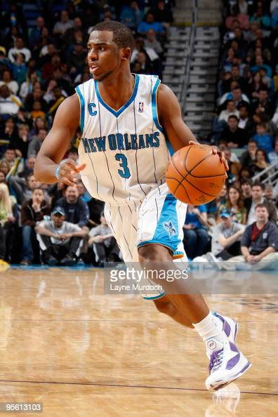 Chris Paul of the New Orleans Hornets drives against the Houston Rockets during the game on January 2 2010 at the New Orleans Arena in New Orleans...