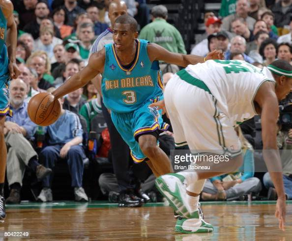 Chris Paul of the New Orleans Hornets drives up court against the Boston Celtics on March 28 2008 at the TD Banknorth Garden in Boston Massachusetts...