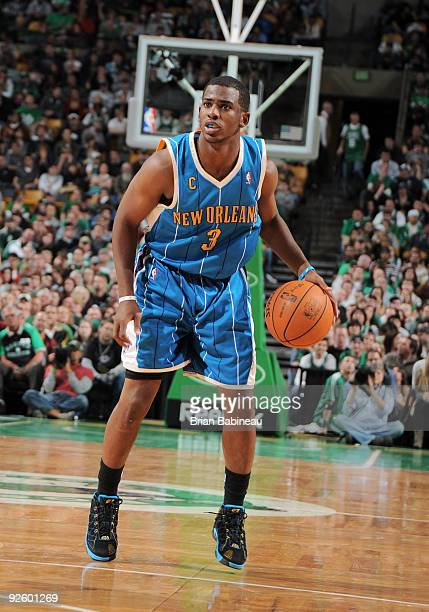 Chris Paul of the New Orleans Hornets looks to make a move against Rajon Rondo of the Boston Celtics on November 1 2009 at the TD Garden in Boston...