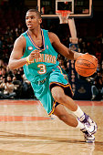 Chris Paul of the New Orleans/Oklahoma City Hornets dribbles against the New York Knicks on January 21 2006 at Madison Square Garden in New York New...