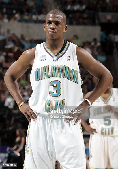 Chris Paul of the New Orleans/Oklahoma City Hornets during a NBA game against the Utah Jazz on April 14 2006 at the Ford Center in Oklahoma City...
