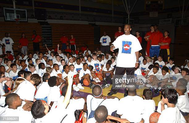 Chris Paul of the New Orleans/Oklahoma City Hornets speaks to over 300 campers at the Richard Hamilton Basketball Camp at Avondale High School on...