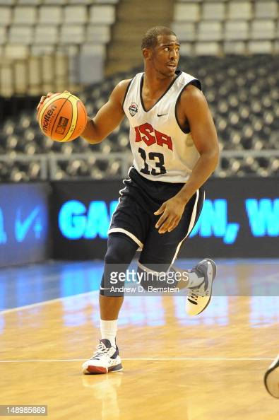 Chris Paul of the US Men's Senior National Team brings the ball up court during practice on July 21 2012 at Palau Sant Jordi in Barcelona Spain NOTE...