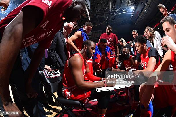 Chris Paul of the Western Conference AllStars draws a play during a timeout during the NBA AllStar Game as part of the 2016 NBA All Star Weekend on...