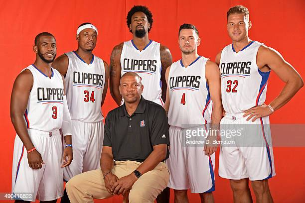 Chris Paul Paul Pierce DeAndre Jordan JJ Redick Blake Griffin and Doc Rivers of the Los Angeles Clippers pose for a portrait during media day at the...