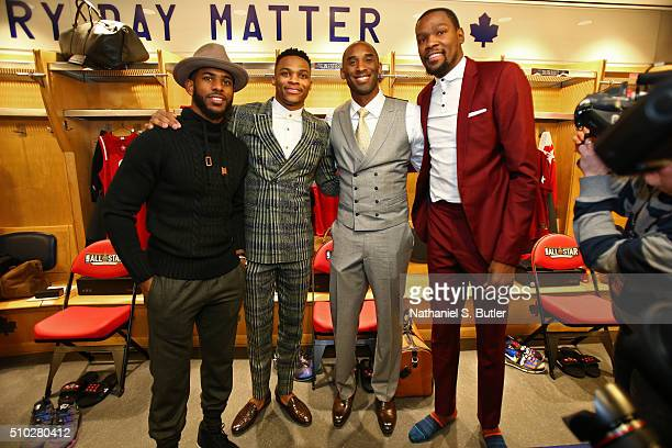 Chris Paul Russell Westbrook Kobe Bryant and Kevin Durant of the Western Conference pose for a photo before the NBA AllStar Game as part of 2016 NBA...