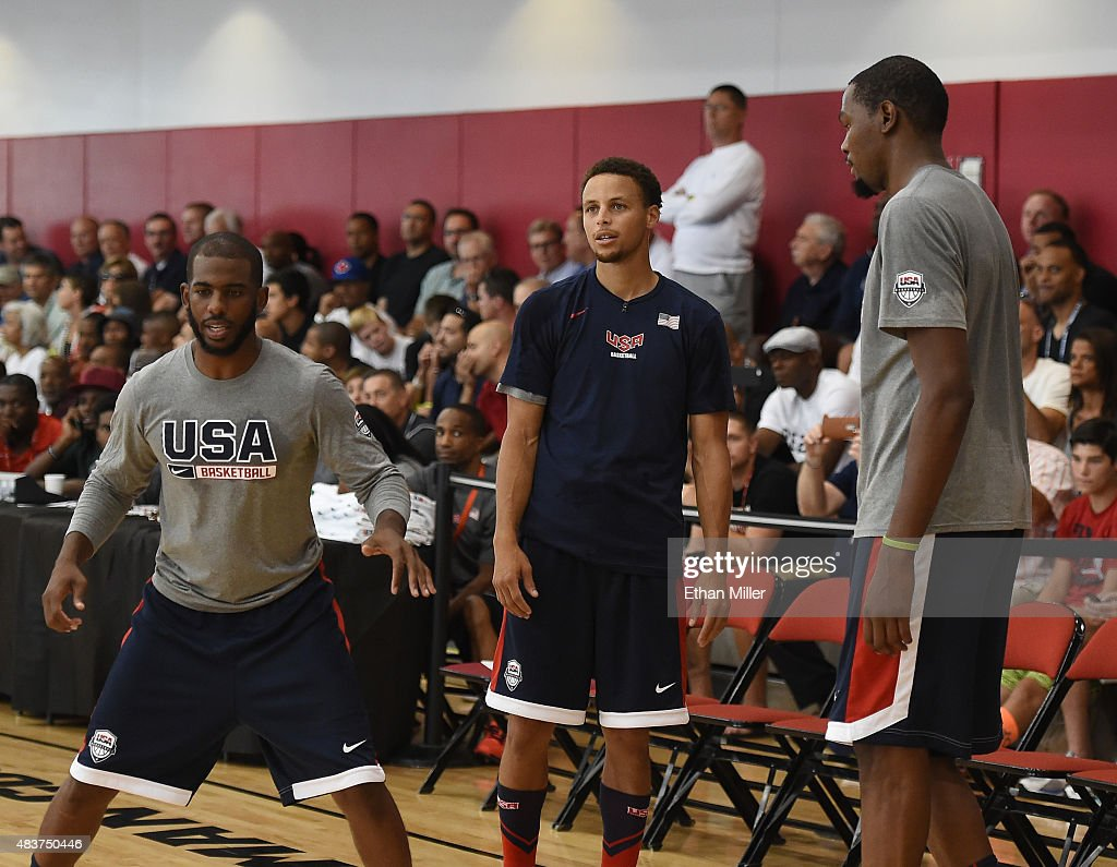Chris Paul #23, Stephen Curry #49 and Kevin Durant #29 of the 2015 USA Basketball Men's National Team attend a practice session at the Mendenhall Center on August 12, 2015 in Las Vegas, Nevada.