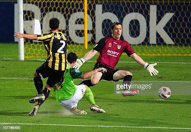 Chris Payne of the Fury scores a goal past Phoenix goalkeeper Danny Vukovic and defender Emmanuel Muscat during the round 20 ALeague match between...