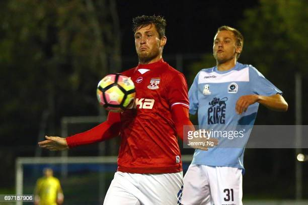 Chris Payne of United 58 gathers the ball during the NSW NPL Men's match between Sutherland Sharks FC and Sydney United 58 on June 17 2017 in Sydney...