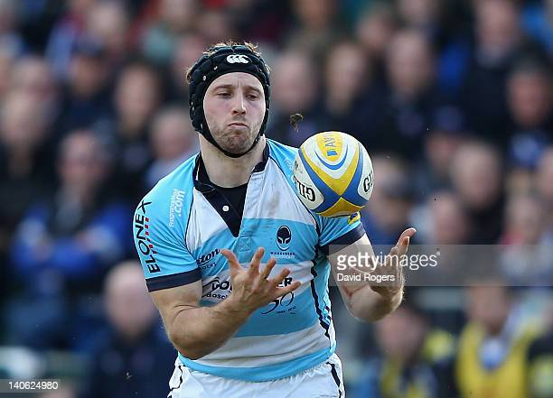 Chris Pennell of Worcester catches the ball during the Aviva Premiership match between Bath and Worcester Warriors at the Recreation Ground on March...