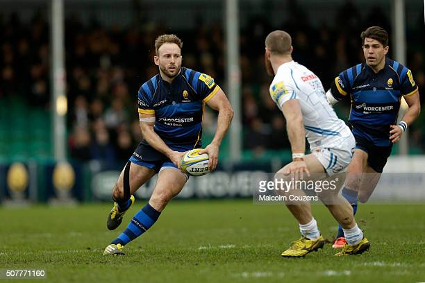 Chris Pennell of Worcester Warriors takes on James Short of Exeter Chiefs during the Aviva Premiership match between Worcester Warriors and Exeter...