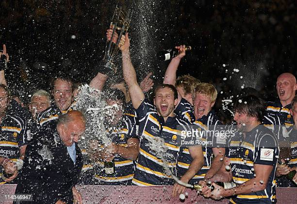 Chris Pennell the Worcester captain holds the trophy as Worcester celebrate their promotion after the victory during the RFU Championship play off...