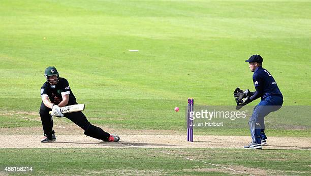 Chris Peploe of Ealing hits out past Tom Marsland of Chester Broughton Hall during the NatWest Club T20 Finals day match between Chester Broughton...